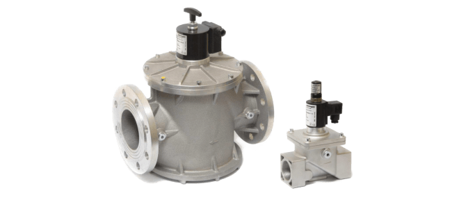 Safety solenoid valves for gas with manual reset, normally closed
